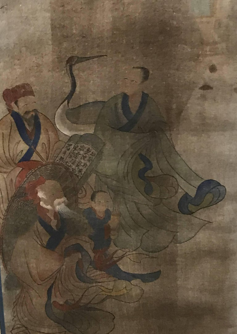 Early Yi Dynasty Korean Painted Triptych on Silk with Folklore Figures For Sale 2