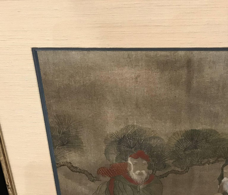 Early Yi Dynasty Korean Painted Triptych on Silk with Folklore Figures For Sale 3