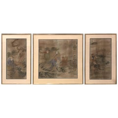 Early Yi Dynasty Korean Painted Triptych on Silk with Folklore Figures