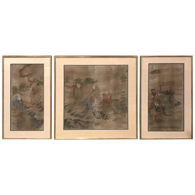 Early Yi Dynasty Korean Painted Triptych on Silk with Folklore Figures For Sale