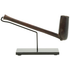 Early Zulu Wood Smoking Pipe on Custom Stand, South Africa Smooth Finish