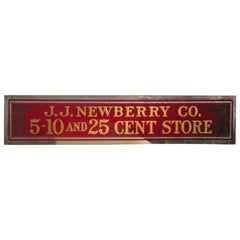 Early JJ Newberry Dept Store 5-10 & 25 Cents Sign Gilt Reverse Glass 192