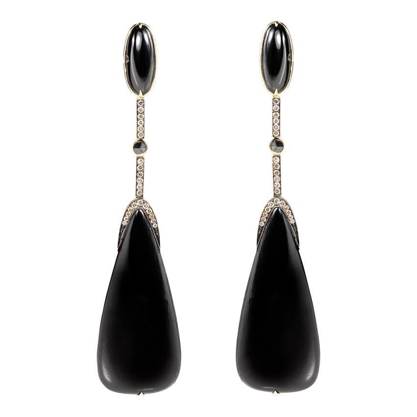 Quartz 63,28ct & Black Diamond 18k Yellow Gold Earring