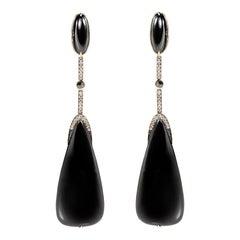 Earring 18 Karat Yellow Gold with 63.28 Carat Black Quartz and Diamonds