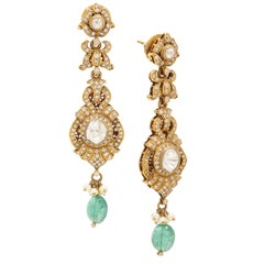 Earring with Diamonds, Pearls and Emeralds Handcrafted in 18 Karat Yellow Gold