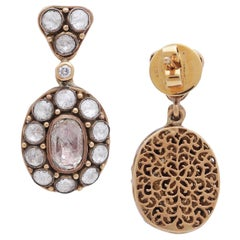 Earring with Rosecut Diamonds Handcrafted in 18 Karat Gold with Intricate Work