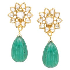 Earring with Uncut Diamonds and Natural Emerald Carved 101 Carat Drop Pair
