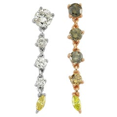 Earrings 0.75 Carat Champagne Diamonds, 1.02 Gr 14K Gold, 0.9 Carat Diamonds