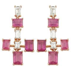 Earrings 1.20 Carat Diamonds, 6.45 Carat Tourmalins, 4.70 Gr 14 Karat Gold