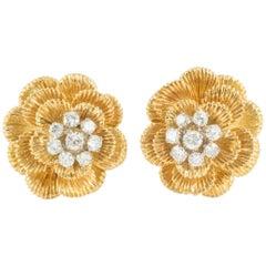 Earrings 18 Carat Gold and Diamond Cluster, Maker Kutchinsky London, 1968