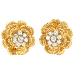Earrings 18 Carat Gold and Diamond Cluster, Maker Kutchinsky London, 1968