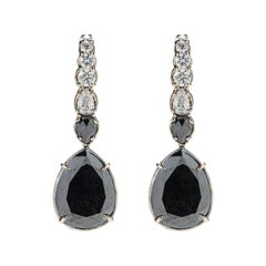 47,9ct Black & White Diamond 18k Gold Earring