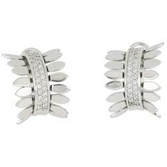 Earrings 18 Karat White Gold and White Diamond VS Color G, Handmade