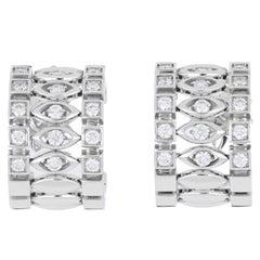 Earrings 18 Karat White Gold and White Diamonds VS color G, Handmade