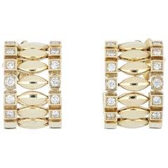 Earrings 18 Karat Yellow Gold and Cream Diamonds VS Color G, Handmade