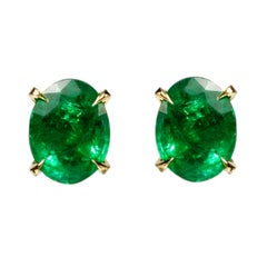 Earrings 18 Karat Yellow Gold with 5.13 Carat Emeralds