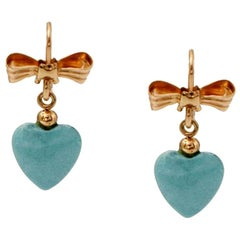 Earrings 18 Karat Yellow Gold with Turquoise Paste Hearts