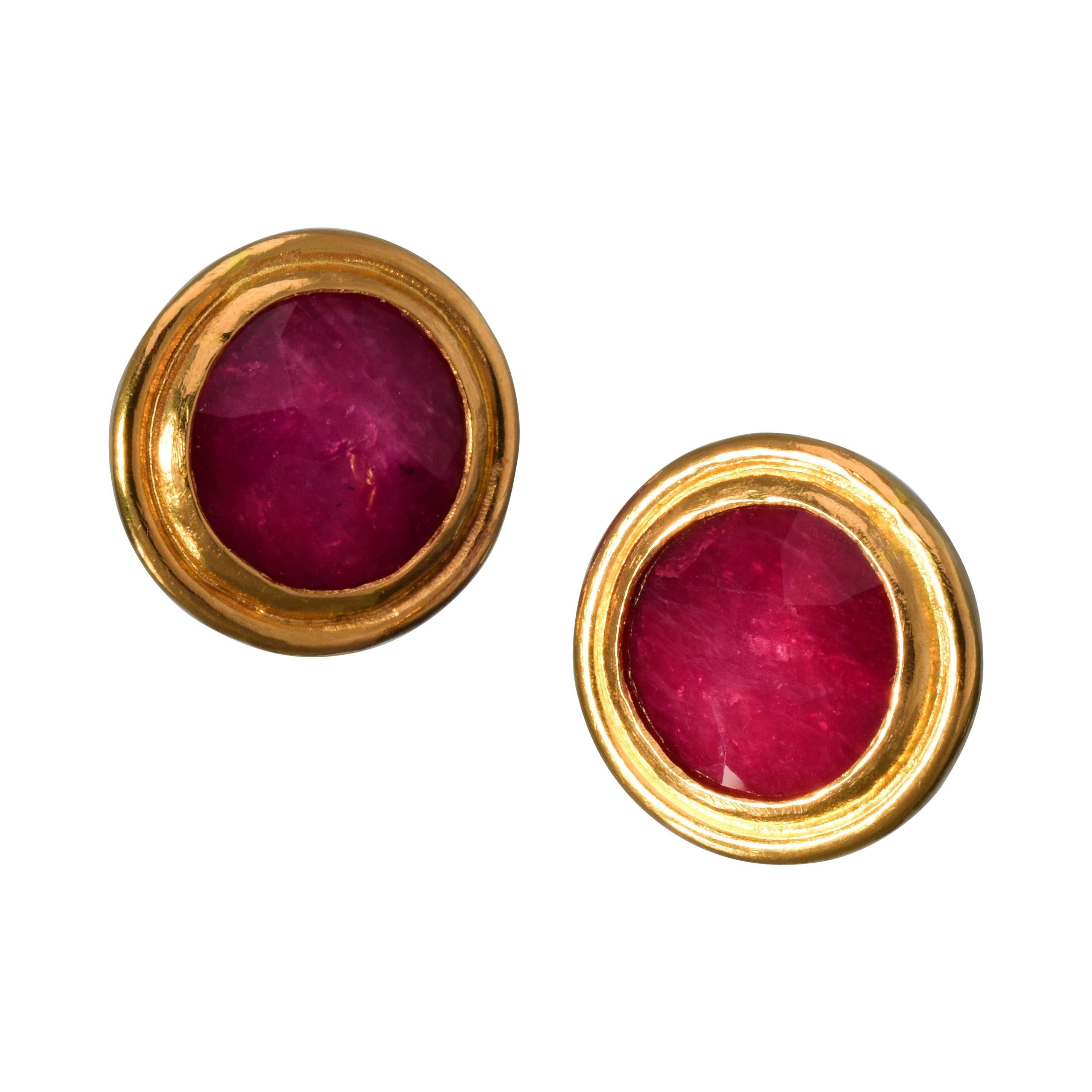 Ruby Stud Earrings Faced with Rock Crystal and Set in 22 Karat Yellow Gold