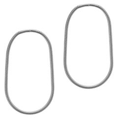 Earrings 924 Sterling Silver Snake Chain Small Hoop Shape Greek Earrings