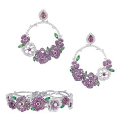 18K White Gold, White Diamonds, Pink Sapphires and Rubies Earrings and Bracelet
