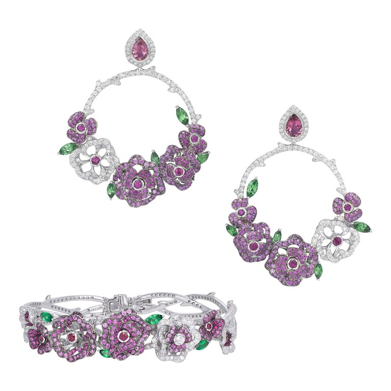 18K White Gold, White Diamonds, Pink Sapphires and Rubies Earrings and Bracelet For Sale