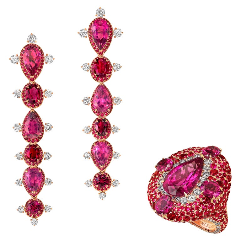 18K Rose Gold, White Diamonds, Rubies and Rubellite Earrings and Cocktail Ring For Sale