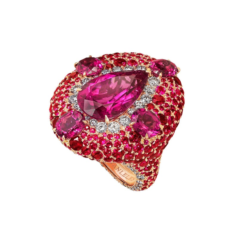 Modern 18K Rose Gold, White Diamonds, Rubies and Rubellite Earrings and Cocktail Ring For Sale