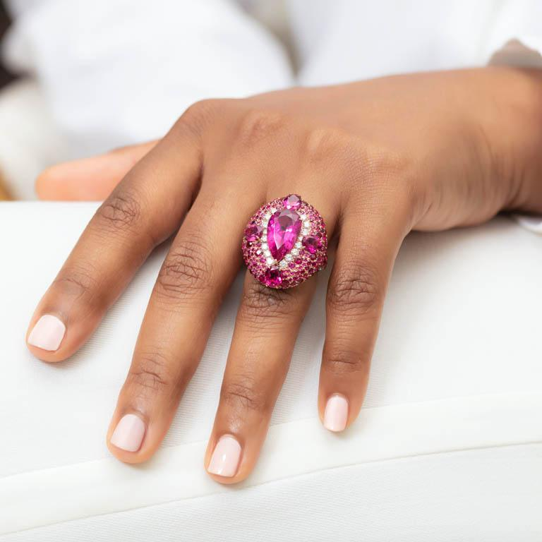 18K Rose Gold, White Diamonds, Rubies and Rubellite Earrings and Cocktail Ring For Sale 2