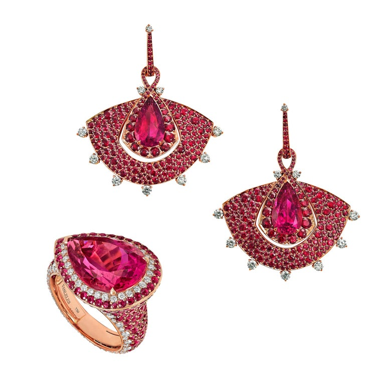 18K Rose Gold, White Diamonds, Mozambican Ruby, and Rubellite Earrings and Ring For Sale