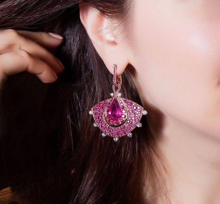 18K Rose Gold, White Diamonds, Mozambican Ruby, and Rubellite Earrings and Ring For Sale 4
