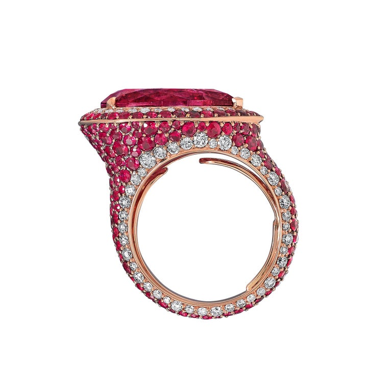 Pear Cut 18K Rose Gold, White Diamonds, Mozambican Ruby, and Rubellite Earrings and Ring For Sale