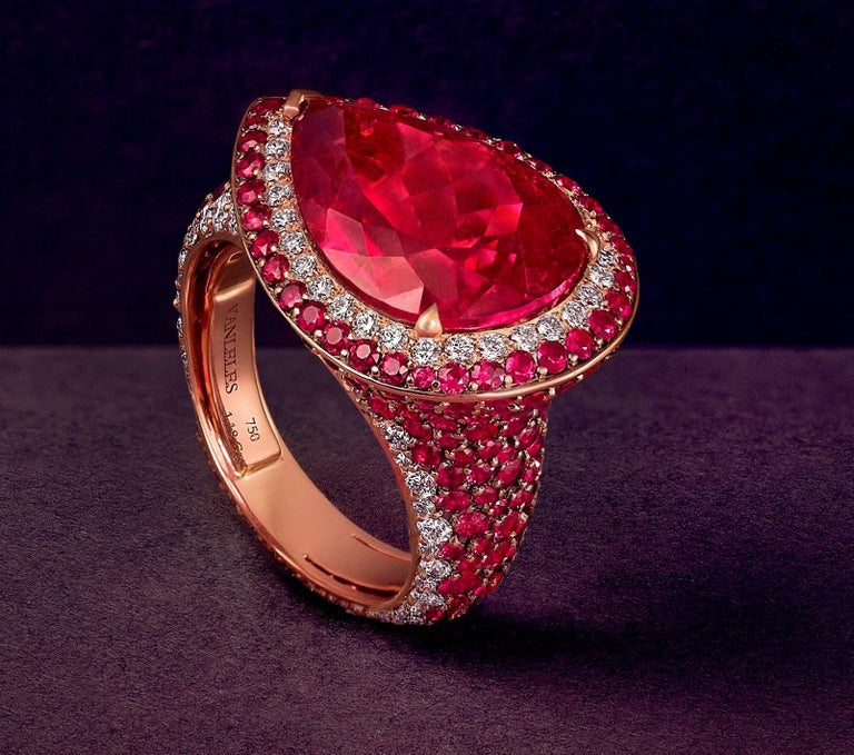 Women's 18K Rose Gold, White Diamonds, Mozambican Ruby, and Rubellite Earrings and Ring For Sale