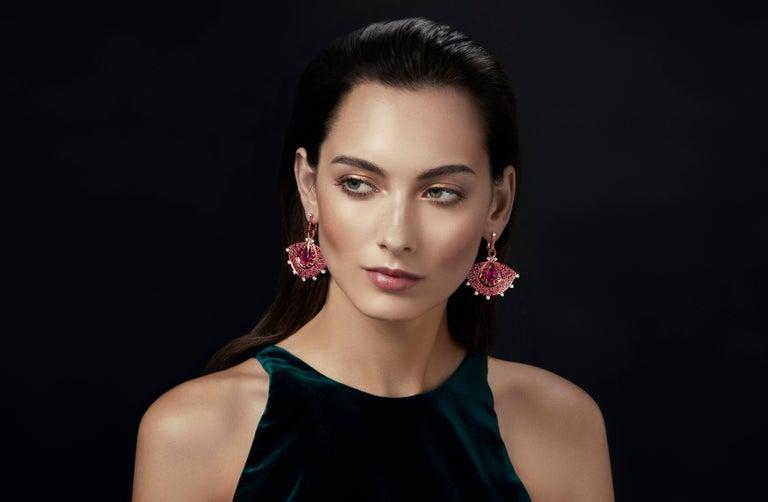 18K Rose Gold, White Diamonds, Mozambican Ruby, and Rubellite Earrings and Ring For Sale 1