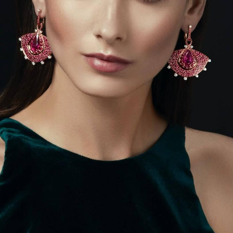 18K Rose Gold, White Diamonds, Mozambican Ruby, and Rubellite Earrings and Ring For Sale 2