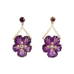 Earrings Antique Carved Amethyst and Diamond Pansy Flowers English, circa 1875