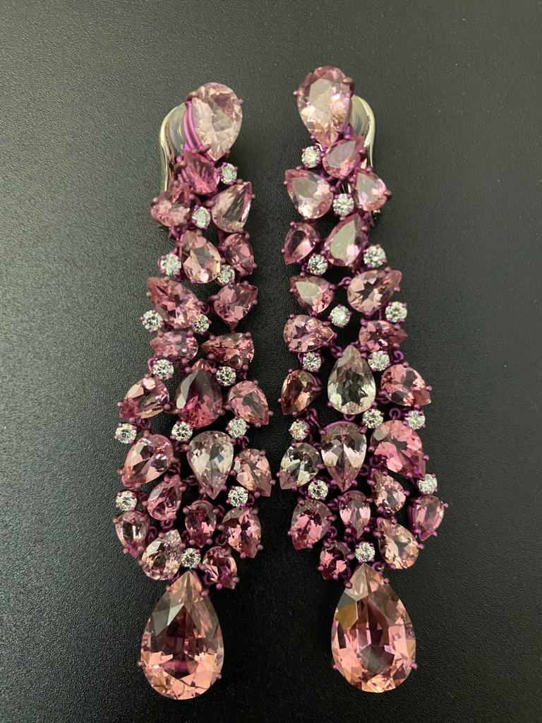 Titanium and Gold Diamonds and pink tourmalines Earrings Chandelier   Earrings Chandelier set with diamonds & Pink tourmalines pear shape Titanium & Gold  28 diamonds brilliant cut for 2.00 Cts 46 pink tourmalines pear shape for 42.42 Cts Convenient