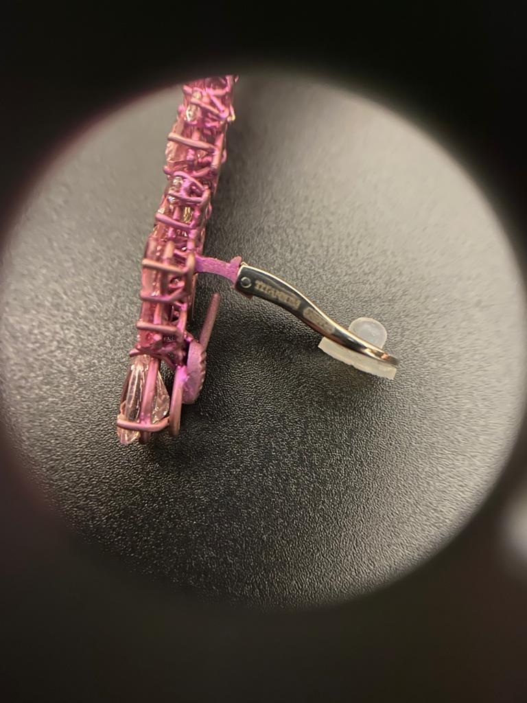 Women's Titanium and Gold Diamonds and Pink Tourmalines Earrings Chandelier For Sale