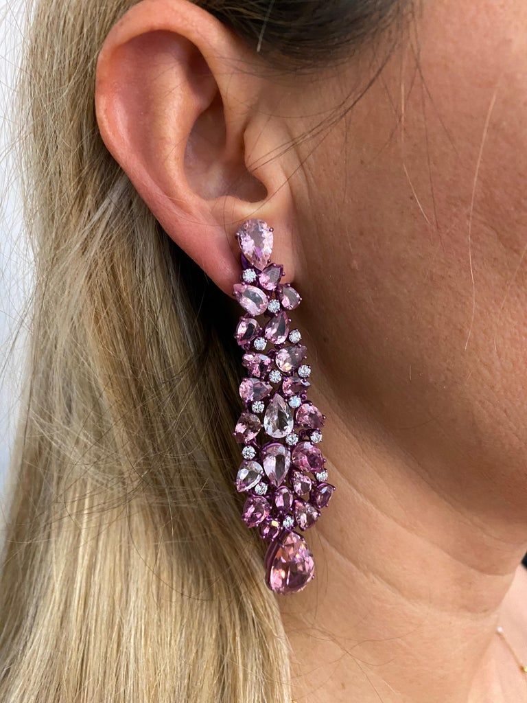 Titanium and Gold Diamonds and Pink Tourmalines Earrings Chandelier For Sale 3
