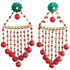 Earrings Coral Carved Emerald Flowers 18 Karat Gold