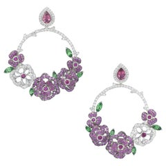 Earrings crafted in 18K White Gold, Pink Sapphires, Diamonds, Rubies, Tsavorites