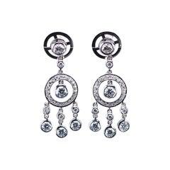 Earrings Diamond Chandelier 18 Karat White Gold