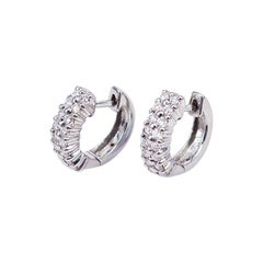 Earrings Diamond Hoop 18 Karat White Gold