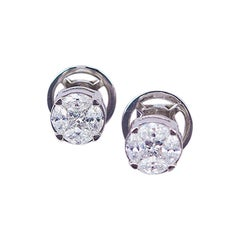 Earrings Diamond Stud 18 Karat White Gold
