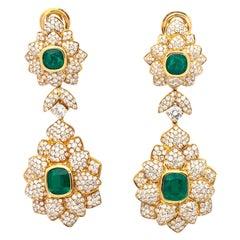 Earrings Emerald Diamond Yellow Gold