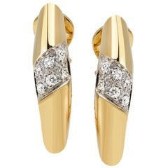 "Earrings from the Collection ""Essence"" 18 Karat Yellow Gold and Diamonds"