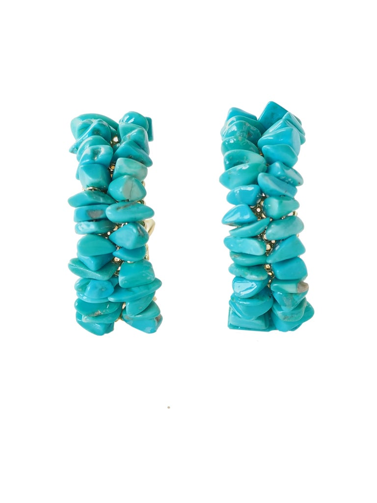 Sky Arch earrings with Turquoise natural stone 18k gold 15,96gr. length 4cm weight 14,1 gr each, 4 cm big large 0,5 cm. All Giulia Colussi jewelry is new and has never been previously owned or worn. Each item will arrive at your door beautifully