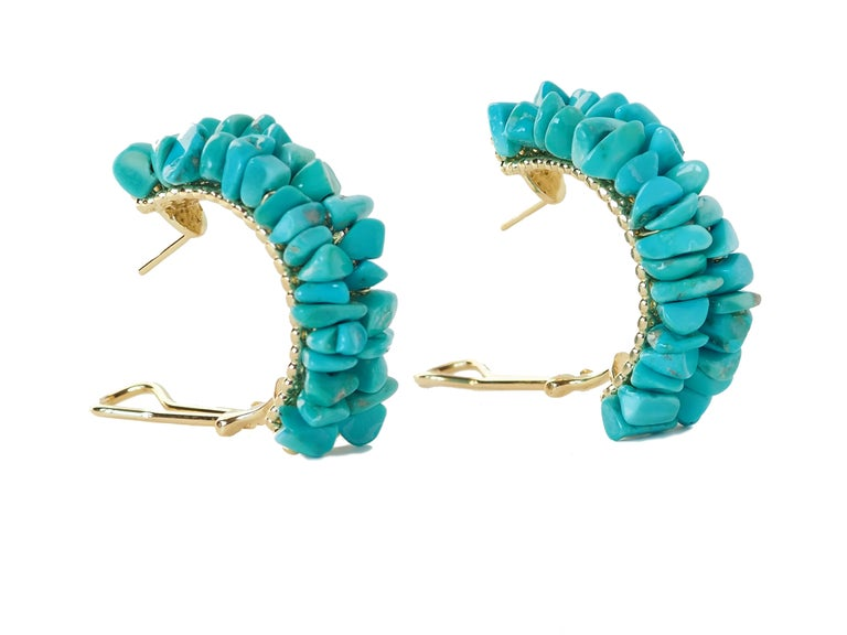 Earrings Gold Natural Turquoise In New Condition For Sale In Milan, IT