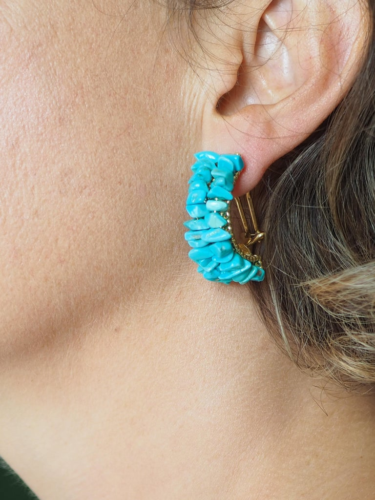 Earrings Gold Natural Turquoise For Sale 1