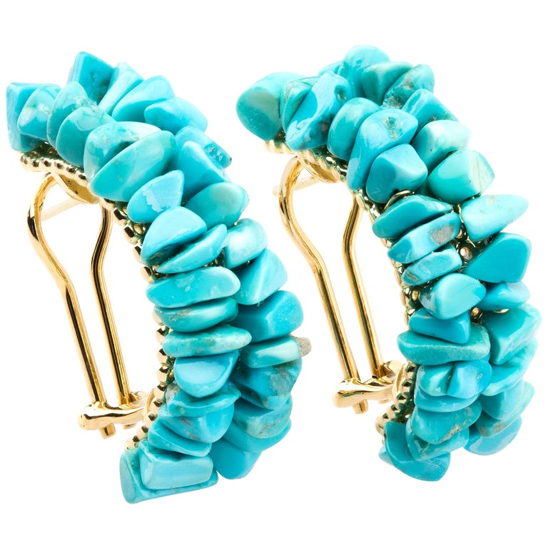 Earrings Gold Natural Turquoise For Sale