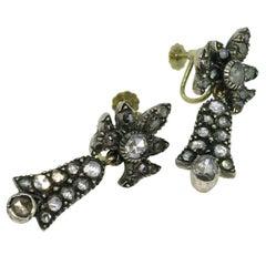 Earrings, Gold, Silver, Antique, Diamond, 1830